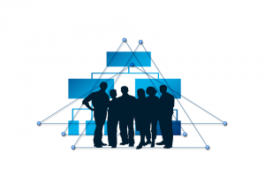 Clip art of silhouettes of a group of people standing in front of an organization chart