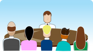Clip art of man being interview by 5 people