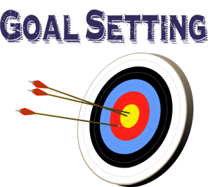 Target with arrows captioned goal setting