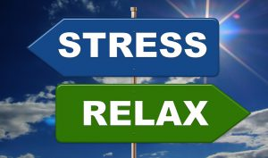 One sign says stress one sign says relax