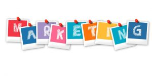 Graphic of word marketing