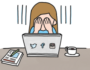 Cartoon of woman holding her face in her hands in front of a laptop