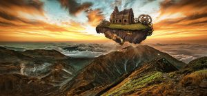 Fantasy painting of floating island